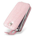 IMAK Flip Crocodile leather Cases Luxury Holster Covers for Nokia N97 mini - Pink