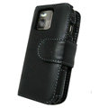 IMAK Side Flip Genuine leather Cases Holster Covers for Nokia N97 mini - Black