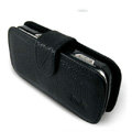 IMAK Side Flip Litchi leather Cases Holster Covers for Nokia N97 - Black