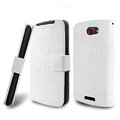 IMAK Slim leather Cases Luxury Holster Covers for HTC One S Ville Z520E - White