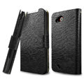 IMAK Slim leather Cases Luxury Holster Covers for HTC T328d Desire VC - Black