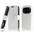IMAK Slim leather Cases Luxury Holster Covers for Nokia 808 PureView - White