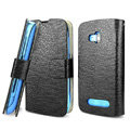 IMAK Slim leather Cases Luxury Holster Covers for Nokia Lumia 610 - Black