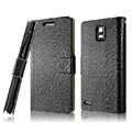IMAK Slim leather Cases Luxury Holster Covers for Huawei U9200 Ascend P1 - Black