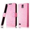 IMAK Slim leather Cases Luxury Holster Covers for Huawei U9500 Ascend D1 - Pink