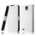 IMAK Slim leather Cases Luxury Holster Covers for Huawei U9500 Ascend D1 - White