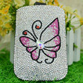 Luxury Bling Holster Covers Butterfly Crystal diamond Cases for iPhone 5 - Pink