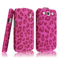 IMAK Leopard leather Cases Luxury Holster Covers for Samsung Galaxy SIII S3 I9300 I9308 I939 I535 - Rose