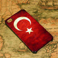 Retro Turkey flag Hard Back Cases Covers for iPhone 4G/4GS - Red