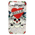 S-warovski Bling crystal Cases Skull Love Luxury diamond covers for iPhone 5 - White