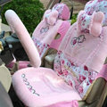Bow Universal Auto Car Front Rear Seat Cover Cushion Set Plush 8pcs - Pink