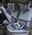 Bow Lace Universal Auto Car Seat Cover Set Short velvet 19pcs - Grey