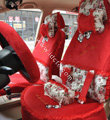 Bow Lace Universal Auto Car Seat Cover Set Short velvet 19pcs - Red
