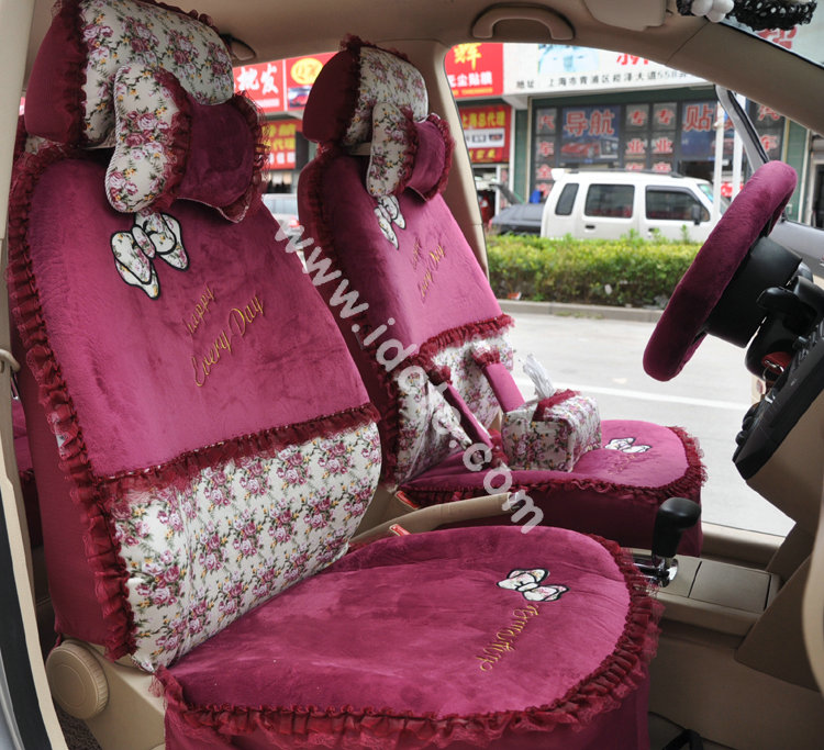 Buy Wholesale Bow Lace Universal Auto Car Seat Cover Set Short Velvet 19pcs