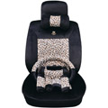 OULILAI Leopard Universal Auto Car Seat Cover Set Short velvet 19pcs - Black