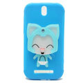 Cute Fox Silicone Cases Covers Skin for HTC T528t One ST - Blue