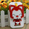 Cute Fox Silicone Cases Skin Covers for HTC T528t One ST - White