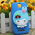 Cute Girl Silicone Cases Skin Covers for HTC T528t One ST - Blue