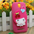 Cute Girl Silicone Cases Skin Covers for HTC T528t One ST - Rose