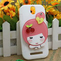 Cute Girl Silicone Cases Skin Covers for HTC T528t One ST - White