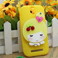 Cute Girl Silicone Cases Skin Covers for HTC T528t One ST - Yellow