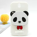 Cute Panda Silicone Cases Covers Skin for HTC T528t One ST - White