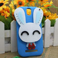 Cute Rabbit Silicone Cases Skin Covers for HTC T528t One ST - Blue