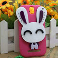Cute Rabbit Silicone Cases Skin Covers for HTC T528t One ST - Rose