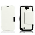Side Flip leather Cases luxury Holster Skin for Samsung N7100 GALAXY Note2 - White