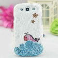 Whale Bling Crystal Case Pearls Covers for Samsung Galaxy SIII S3 I9300 I9308 I939 I535 - White