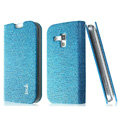 IMAK Slim leather Cases Luxury Holster Covers for Samsung S7562 Galaxy S Duos - Blue