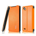 IMAK Cross leather Cases Holster Covers for HTC T528d One SC - Orange