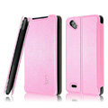 IMAK Cross leather Cases Holster Covers for HTC T528d One SC - Pink