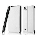 IMAK Cross leather Cases Holster Covers for HTC T528d One SC - White