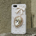 Bling Bowknot Crystal Cases Rhinestone Pearls Covers for iPhone 5 - White