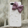Bling Bowknot Rhinestone Crystal Cases Pearls Covers for iPhone 5 - Purple