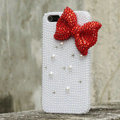 Bling Bowknot Rhinestone Crystal Cases Pearls Covers for iPhone 5 - Red