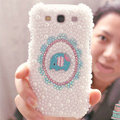 Bling Elephant Crystal Case Pearls Covers for Samsung Galaxy SIII S3 I9300 I9308 I939 I535 - White