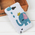 Bling Elephant Crystal Cases Pearls Covers for Samsung N7100 GALAXY Note2 - White