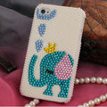 Bling Elephant Crystal Cases Pearls Covers for iPhone 4G/4S - White