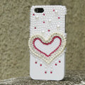 Bling Heart Crystal Cases Rhinestone Pearls Covers for iPhone 5 - White