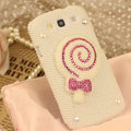 Bling Lollipop Crystal Case Pearls Covers for Samsung Galaxy SIII S3 I9300 I9308 I939 I535 - White