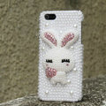 Bling Rabbit Crystal Cases Rhinestone Pearls Covers for iPhone 5 - White