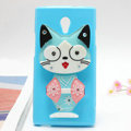 Cat Silicone Cases Mirror Covers Skin for OPPO U705T Ulike2 - Blue