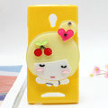 Cute girl Silicone Cases Mirror Covers Skin for OPPO U705T Ulike2 - Yellow