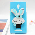 Rabbit Silicone Cases Mirror Cover Skin for OPPO U705T Ulike2 - Blue