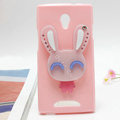 Rabbit Silicone Cases Mirror Covers Skin for OPPO U705T Ulike2 - Pink