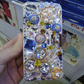 S-warovski crystal cases Flower Bling diamond pearl covers for iPhone 5 - Blue