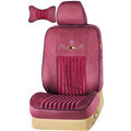 VV stripe camel velvet Custom Auto Car Seat Cover Set - Red