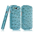 IMAK Ostrich Series leather Case holster Cover for Samsung Galaxy SIII S3 I9300 I9308 I939 I535 - Blue
